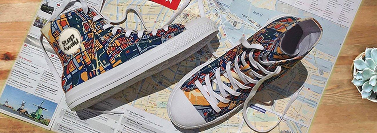 Sneaker Step Away su una mappa