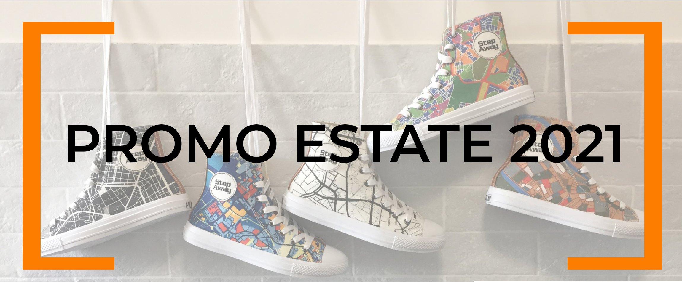 Sneakers Step Away esposte su un muro
